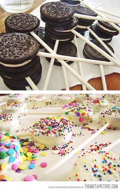 Oreo Pops - so easy!! This would be fun for a party. Just dip the oreos into any type of chocolate and then cover in sprinkles.