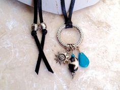 turquoise multi charm necklace boho by TurquoiseStarJewelry