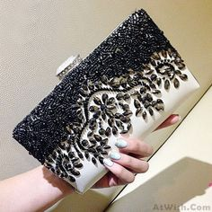 Wow~ Awesome Charming Noble Black Beaded Rhinestone Clutch Bag Diamond Buckle…