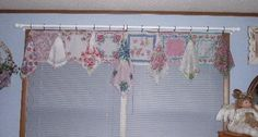 I have  wondered how to use hankies for a valance...fabulouse.  Lots and lots of ideas on this site