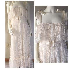 VINTAGE ivory accordion pleated lace wedding dress Absolutely beautiful! It is an ivory color. Fully lined (polyester lining) dress has been cleaned and steamed. Looks beautiful with no stains & no tears. Has ribbon tie straps that can be tucked in for a strapless look. Ribbon tie at empire waist that is held on by a safety pin. The tag says size 7/8 and is a vintage item. Can fit a size 4/6 or smaller. I would label as a size SMALL. Length 52 inches. Elastic top band 22- stretches to 34…