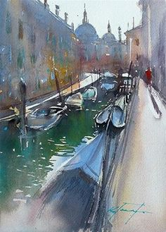 """Venice Canal XII, Venice Italy Painting"" - Original Fine Art for Sale - © Keiko Tanabe"