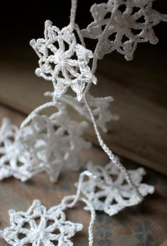 Crochet Garland - Wall Hanging - Small Doily Bunting -- Snowflake garland - Snow White
