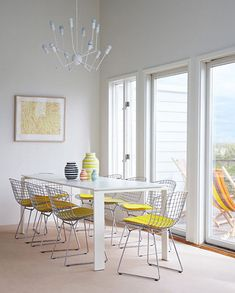 dining room white yellow bertoia chairs alexandra angle