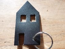 Leren sleutelhanger huis