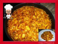 Fideuá de calamares y gambas Saveur, Macaroni And Cheese, Curry, Cooking, Ethnic Recipes, Food, Yummy Yummy, Risotto, Ideas