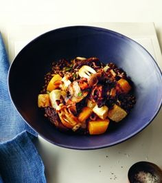 French Lentils with Roasted Roots, Caramelized Onions and Thyme  | via registered dietitian Janet Helm
