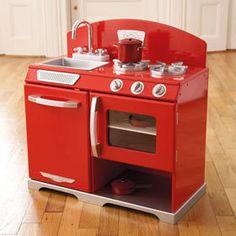 New Gltc Kidkraft Red Retro Wooden Kitchen Play Creative Rrp 130 Children Toy Ebay