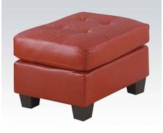 Platinum Contemporary Red Bonded Leather Wood Ottoman