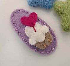 NO SLIP Wool felt hair clip Cupcake with a heart by MayCrimson, $7.00
