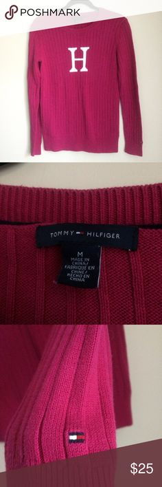 Tommy HIlfiger H Monogram Sweater Magenta Size M The perfect pop of color for your winter wardrobe! Tommy HIlfiger H Monogram Sweater Magenta Size Medium, has been washed and worn before, in excellent condition. Tommy Hilfiger Sweaters