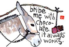 Bribe Me With Chocolate (Original Etegami Painting, Japanese Postcard Art, Donkey, Chocolate)