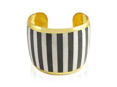 Evocateur 22K Gold Leaf Black and White Stripped Cuff Bracelet