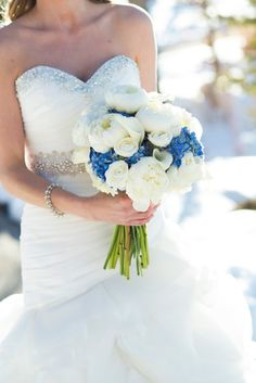 Brinton Studios, romantic winter wedding, snow covered, devils thumb ranch, white and blue floral bouquet