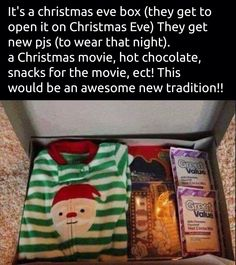 Christmas Gifts - Christmas eve box for kids Noel Christmas, Christmas Movies, Winter Christmas, All Things Christmas, Christmas Eve Box For Kids, Adult Christmas Gifts, Christmas With Baby, Christmas Hacks, Family Christmas Presents