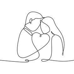 Couple In Love With Continuous One Line Drawing Vector Illustration, Linear, Continuous Line, Valentine PNG and Vector with Transparent Background for. Single Line Drawing, Continuous Line Drawing, Outline Drawings, Art Drawings, Face Outline, Hug Illustration, Minimalist Drawing, Drawing Wallpaper, Image Clipart