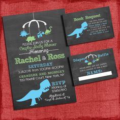 Printable Dinosaur Baby Shower Invitation Set: Invite + Diaper Raffle Ticket + Book Request  - Chalkboard Style - I design you print