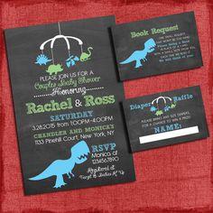 Printable Dinosaur Baby Shower Invitation Set: by PuzzlePrints