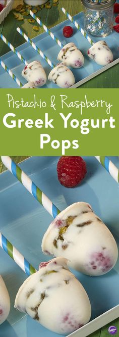 How to Make Pistachio & Raspberry Greek Yogurt Pops - Looking for a light and cool treat that doesn't add to your waistline? Try these Frozen Greek Yogurt Pops with Pistachios and Raspberries. Cool off this summer with these yogurt pops as a mid-day snack.