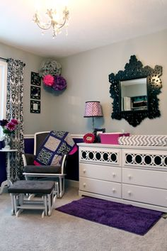 Purple, Gray and Pretty Prints | Project Nursery - love the dresser and chevron changing pad!