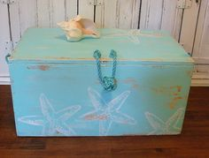 Trunk Blanket Box Starfish Treasure Chest In Seafoam