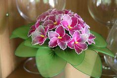 African Violet nylon flower arrangement -- not quite heavenly, but very pretty! TheCallendersFlowers, Etsy