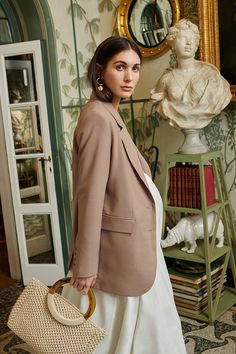 Dressing up for a night in? For stylist Diletta Bonaiuti, a taupe colored blazer works for every occasion | H&M Spring & Summer Fashion