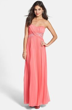 Way-In Embellished Pleat Strapless Gown (Juniors) available at #Nordstrom