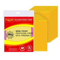 Faicuk 20-Pack Dual-Sided Yellow Sticky Traps for Flying Plant Insect Like Fungus Gnats, Aphids, Whiteflies, Leafmine...