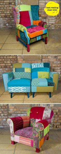 Cadeira com forração em tecido estilo Patchwork.