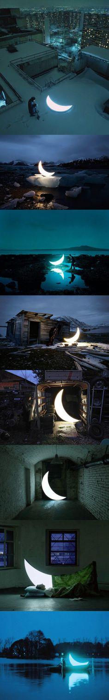 Private Moon light by Leonid Tishkov & Boris Bendikov Artistic Installation, Light Installation, Moon Photos, To Infinity And Beyond, Moon Art, Light Art, Stars And Moon, Les Oeuvres, Moonlight