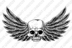 Vintage Woodcut Winged Skull by Christos Georghiou on @creativemarket