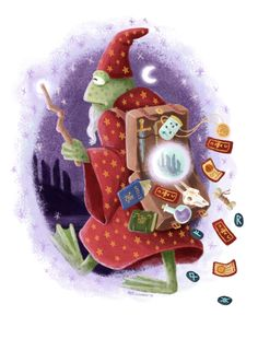 Forgetful Frog Wizard - my submission for a 'A Wizard's Suitcase Zine'  © Alex Ashman Illustration & Design    #frog #wizard #frogwizard #wizardry #magic #portal