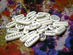 25 Pocket Tokens Message Stones Wedding by spinningstarstudio