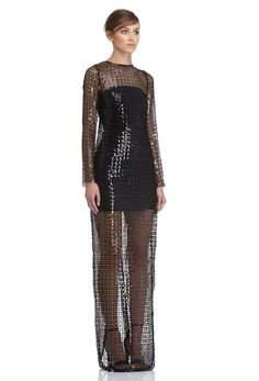 AQ/AQ Harper Long Sleeved Sequin Maxi Dress with Centre Split Back · Black ·