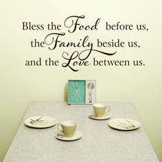 Kitchen Wall Decal - Bless this Food Wall Decal Before Us Vinyl Wall Decal - Kitchen Decor Wall Art on Etsy Kitchen Wall Decals, Name Wall Decals, Wall Vinyl, Vinyl Decals, Kitchen Vinyl, Kitchen Walls, Wall Stickers, Kitchen Signs, Kitchen Decor
