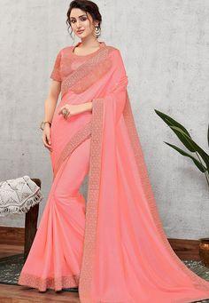 traditional pink silk with cord embroidered saree 11403 Peach Saree, Blue Saree, Chiffon Saree, Georgette Sarees, Red Chiffon, Silk Sarees, Crepe Saree, Organza Saree, Georgette Fabric