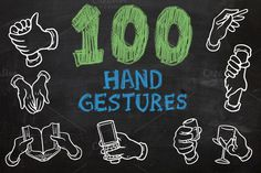 Check out 100 Hand Gestures by Salih Gonenli on Creative Market (Graphics, Illustrations)