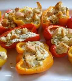 Recipe for Baked Peppers with Ricotta and Basil - This easy-to-throw-together contorni turned out rich in taste but light enough to use as a starter. You will feel like you've been transported to Tuscany!
