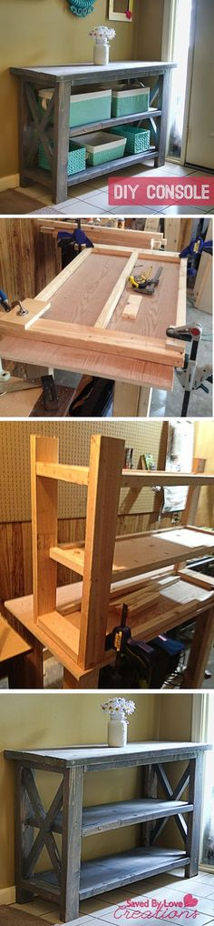Rustic Console Table #woodworking #DIY plan from Ana White I need a place to put baskets to hold all the stuff that used to end up on the kitchen counter, table, desk