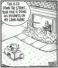 Dog doing business on the lawn - funny cartoon - http://jokideo.com/dog-doing-business-on-the-lawn-funny-cartoon/