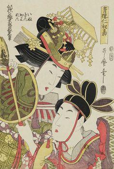 Niwaka Festival in Yoshiwara. Ukiyo-e woodblock print, 1808 ,  Japan, by artist Kitagawa Utamara II.