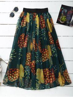 Pineapple Print Midi Skirt - GREEN ONE SIZE