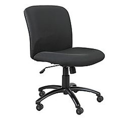 Safco Uber Big Tall Mid Back Chair With Optional Armrests 36 12 40 12 H X  27 W X 30 14 D Black Frame Black Fabric By Office Depot U0026 OfficeMax