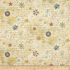 Holiday+Shimmer+Metallic+Stars/Snowflakes+Cream/Gold from @fabricdotcom  From+Hoffman+California+International+Fabrics,+this+cotton+print+fabric+is+perfect+for+quilting,+apparel+and+home+decor+accents.+Colors+include+shades+of+red,+green,+gold,+white+and+cream.+Features+gold+metallic+accents+throughout.