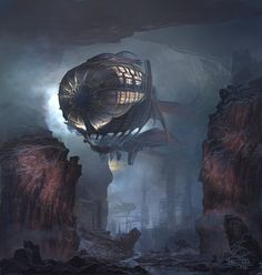 Teuloan ship on the way to the unknown Picture fantasy, airship, steampunk) Art Steampunk, Steampunk Airship, Diesel Punk, Zeppelin, Fantasy Landscape, Fantasy Art, Steampunk Wallpaper, Unknown Picture, Digital Art Gallery
