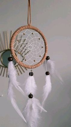 Dream catcher Wall decor Car dream catcher Moodboard decoration - You are in the right place about diy Here we offer you the most beautiful pictures about the diy - Doily Dream Catchers, Dream Catcher Decor, Dream Catcher Nursery, Large Dream Catcher, Dream Catcher Boho, Dream Catcher For Car, Making Dream Catchers, Dream Catcher Jewelry, Dream Catcher Patterns
