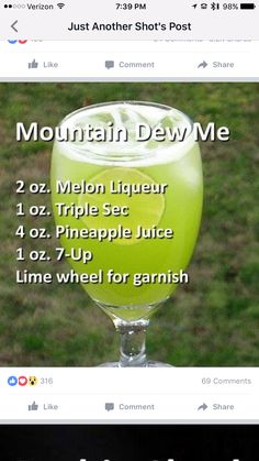 Mountains dew me cocktail: melon liqueur, triple sec, pineapple juice and Liquor Drinks, Cocktail Drinks, Alcoholic Drinks, Refreshing Drinks, Yummy Drinks, Alcohol Drink Recipes, Mountain Dew, Mixed Drinks, Vodka