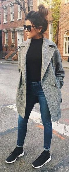 #winter #fashion /  Grey Coat / Black Knit / Skinny Jeans / Black Sneakers