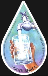 Stamp: Water - Saving tips for the home (South Africa) (International Year of Water Cooperation) Mi:ZA 2186 Water Saving Tips, Save Water, South Africa, Stamps, Lunch Box, Lettering, Dimensional Shapes, Seals, Bento Box